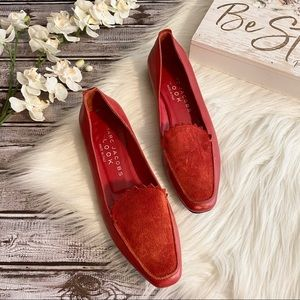 Marc Jacobs LOOK Loafers Red Leather Suede, 38.5